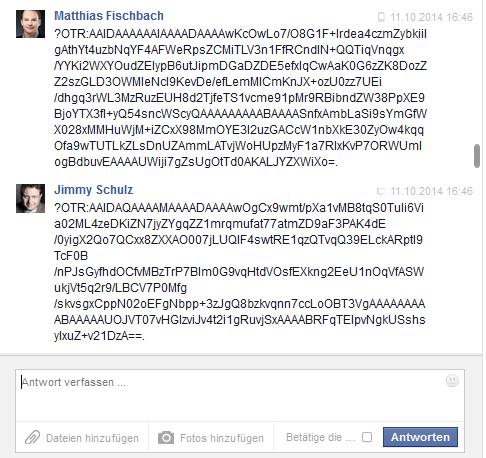Auszug aus dem Chatverlauf mit von ChatSecure verschlüsselten Nachrichten.